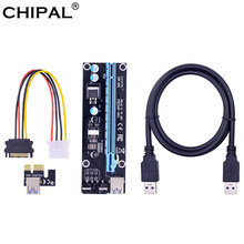 CHIPAL VER006 006 PCI Express PCI-E 1X к 16X Riser Card + 1 м USB 3,0 кабель SATA к 4Pin molex разъем питания для BTC LTC ETH Mining(China)