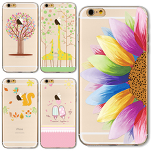 TPU Cover For Apple iPhone 4 4S 5 5S SE 5C 6 6S 6Plus 6SPlus Cases Hot Sale! Painted Hollow Out Sunflower Series Charming