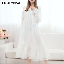 2017 Long Cotton Nightgown Princess Sleep Lounge Women White Home Dress Sleepshirts Female Nightdress Vintage Camisao #P165(China)