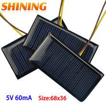 2pcs Mini PET Solar Panel 5V 60mA Sun Cell Polycrystalline Solar Cell Photovoltaic Panel For 3.6V Battery Charger DIY Toy LED(China)