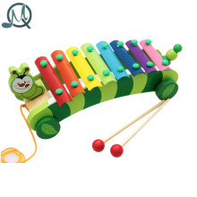 MQ 8 Scales Caterpillar Trailer Xylophone Hand Knock Piano Wooden Educational Toy for Baby Kids Chilrden