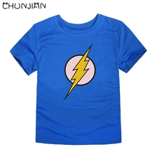 CHUNJIAN kids t shirts children royal blue with flash man logo cartoon character marvel tops for boys children summer clothing