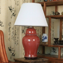 Jingdezhen Vintage style porcelain ceramic desk table lamps for bedside chinese Porcelain red table lamp