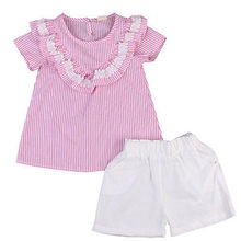 2PCS Kids  Cotton  Baby Girl Clothes Cute Pink Striped Top+Short Pants Outfit Set 2T 3T 4T 5T 6T