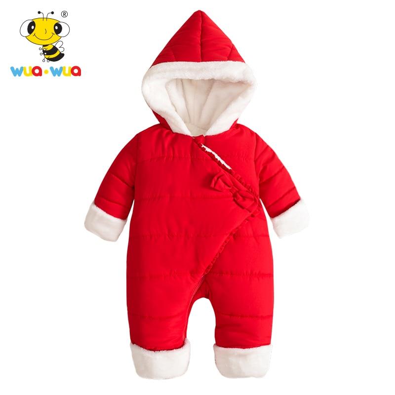 Wua Wua 59-90cm Winter Baby Bodysui Childrens Warm Velvet Bodysuits Newborn Baby Girls Boys Clothes Red Infant Thicken Jumpsuit<br>