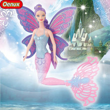 Oenux Original Swimming Mermaid Dolls Fashion Ariel Mermaid Doll With Wings Toys Princess Jointed Dolls Bonecas For Girls Gift(China)