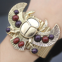 Egyptian Revival khepri Scarab Beetle Beadsa Wing Big Bracelet For Women Bangles Cuff Pulseiras Masculina Indian Anime Jewelry