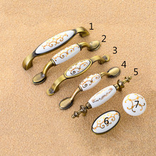 Ceramic Vintage Metal Door Handles Bronze Kitchen Shoe Cabinet Cupboard Drawer Wardrobe Pulls Knobs Handle Home Furniture(China)