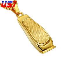 US7 Trend Gold Color Barber Hair Clipper Pendant Necklaces 60CM Stainless Steel Chain Pendants For Men Jewelry Drop Shipping(China)