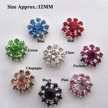 12mm Tiny Crystal Rhinestone Buttons flatback Silver VERY SPARKLY flower centers invitations crystal bouquet 50PCS RMB010