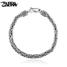 Real Solid Pure 925 Sterling Silver Peace Lines Bracelet 2 Size for Lovers Corsair Jewelleries Vintage Punk Thai Silver Men Lady(China)