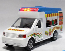 Gift for baby 1pc 14.5cm funny mobile fast food ice cream trucks car Acousto-optic alloy model home decoration boy toy(China)