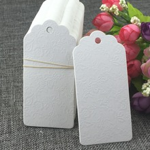 500pcs 9.5*4.5cm White Garment Tags Emboss Rose Hang Tags Wedding Gift Tags Paper Price Tag Gift Packing Labels/Paper Card