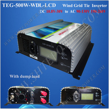 Grid tie pure sine wave 500w inverter wind 10.8-30v dc input with fan cooling(China)