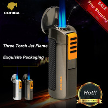 COHIBA Exquisite Packaging Titanium Pocket Windproof Triple 3 Torch Jet Flame Cigar Lighter with Cigar Punch 2PCS/Lot