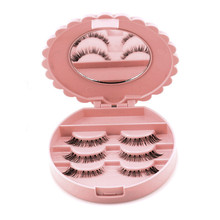 Plastic Round Pink False Eyelash Storage Box Fake Eye Lashes Box Cute Bowknot Shaped Comestic Make Up Accessories