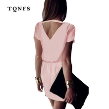 TQNFS 2017 New Women Chiffon Dress Ladies Summer Mini Dresses Casual Short Sleeve Solid Deep V Neck Hollow Out Party Sexy Dress