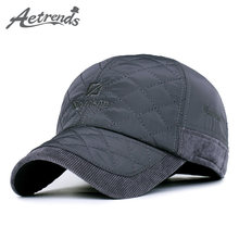 AETRENDS  Mens Caps and Hats Winter Brand Baseball Cap with Ears and  Corduroy Visor Moda Hombre 2018 Dad Hat 5 Panel Z-3650 d54eab99a39f