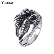 Yisoso Ancient Silver Color Stainless Steel Dragon Claw Ring Men Vintage Gothic Jewelry Punk Retro Style Skull Rings