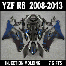 NEW HOT fairing for 2008 2009 - 2013 YAMAHA R6 fairings 08 09 10 11 12 13 YZF R6 fairing kit blue flames in glossy flat black