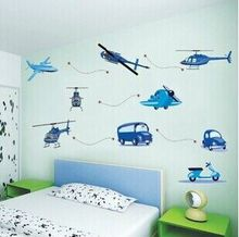 Free delivery boy favorite children's room bedroom wall stickers decorative entrance bed truck green aircraft(China)