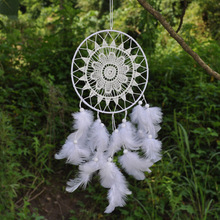Dream Catcher Home Decor, white Feather Dreamcatcher Wind Chimes Indian Style Religious Mascot Car or Wall Decoration