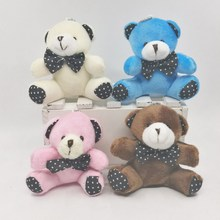 1Pcs 8CM Cute Plush Sitting Teddy Bear Dot Bow Tie Bear Urso De Pelucia Oso Dolls cellphone bag key chain