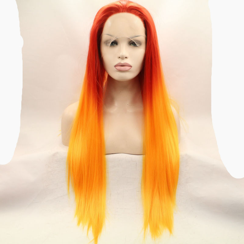 hot sale new style silky straight ombre orange to yellow synthetic lace front wig with heat resistant fiber long hair gluess<br><br>Aliexpress