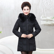 Winter elderly women with long hair collar styles with feather padded coat thickness increase fat mother