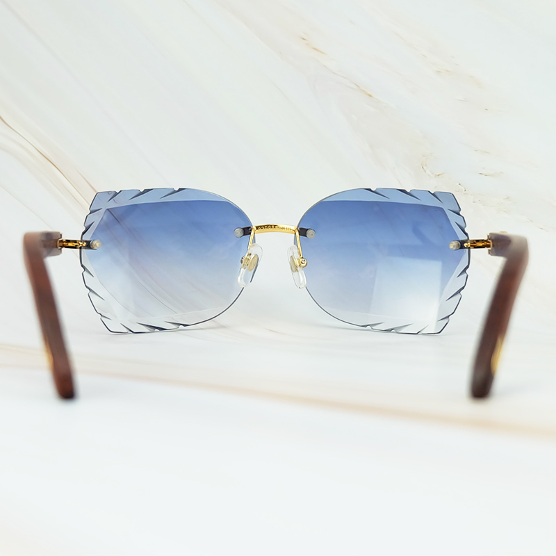 Rimless 3mm Thick Gradient Blue Lens Square Designer Brand Name Carter Sunglasses Wholesale Maroon Wood Sun Glass Wooden Shade (4)
