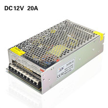 DC12V 20A Universal Regulated Switching Power Supply 240W Transformer for LED Strip Light Tape Lamp CCTV Radio Computer Project