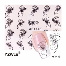 YZWLE 2017 Hot Sale DIY Japanese Watermark Cute Black Flower Design Nail Art Sticker, Water Transfer Sticker(China)