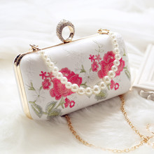 2017 Embroidery Floral Lady Women Ring Hand Bag Chain Pearl Shoulder Bag Women Knucklebox Evening Bag Day Clutch Wedding Clutch