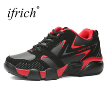 2017 Autumn Winter Running Sneakers Sport Shoes Black Red Gym Trainers Leather Mens Jogging Shoes Comfortable Sport Trainers Men(China)