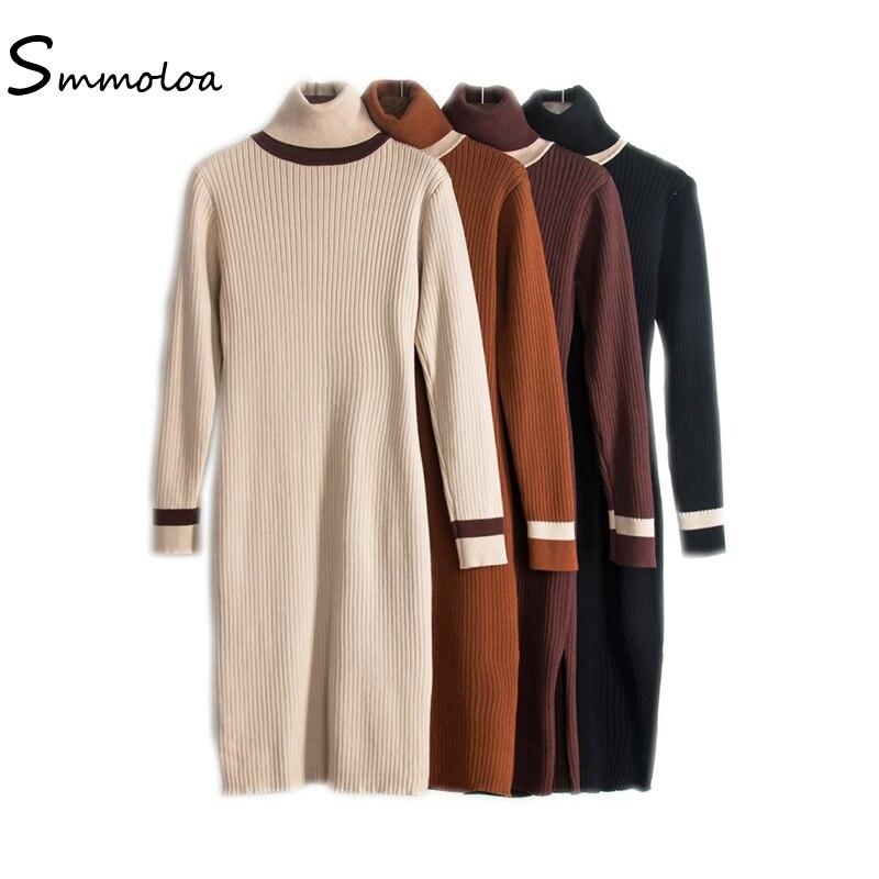 Smmoloa 2017 Autumn Winter Warm Knitted Dress Women Sexy Split out Package Hip Bodycon DressÎäåæäà è àêñåññóàðû<br><br>