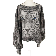 NIBESSER 2017 Autumn Winter Fashion Street 3D Leopard Tiger Head Print Bright Wire Tassel Warm Hedge Shawl Poncho Blanket