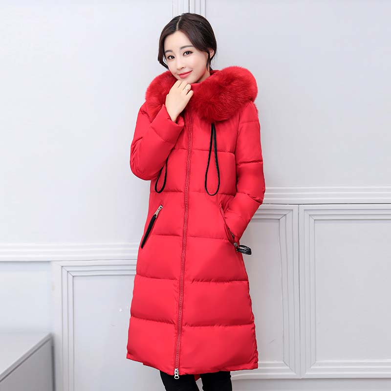 2017 Real Sale Full Zipper Solid Ukraine Winter Leisure Coat Women s Cotton Long Jacket Thicker Padded Hooded Warm Windbreaker Îäåæäà è àêñåññóàðû<br><br>