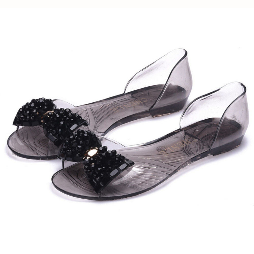 Female Plastic Beach Shoes Jelly color Crystal Bowknot Flat Casual Sandals<br><br>Aliexpress