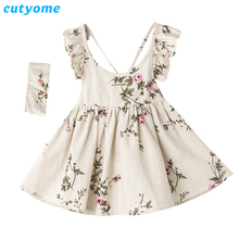 Cutyome Baby Girls Backless Dress Tunic Stylish Vintage Linen Kids Floral Print Evening Party Dresses New Children Maxi Sundress(China)