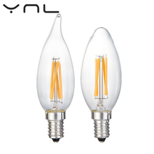 Buy 6Pcs E14 Brand Antique LED Edison Bulb C35 220V 2W 4W 6W Lampada de LED Filament Lamp Vintage Retro Candle Glass Light for $6.54 in AliExpress store