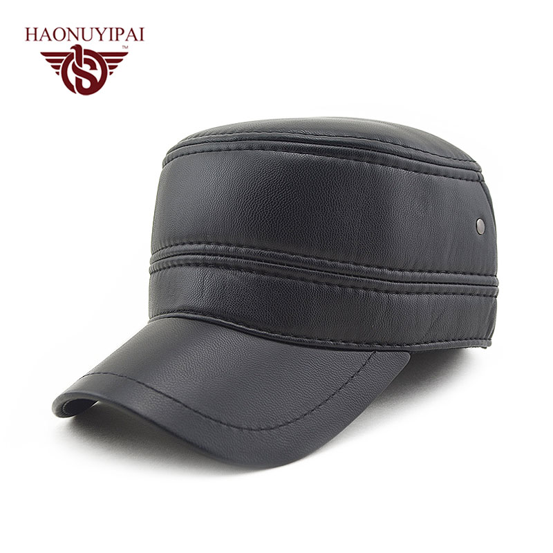 ski brand baseball caps leather font hats men black sports