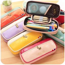 Korean Fashion Leather Pencil Bag Cute Pencil Pouch For Pens And Pencils,Women Girls Multifunctional Makeup Brush Holder