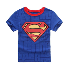 2-7Y Cotton Kids Boys Superman Spiderman Solid O Neck Cotton T-Shirt Short Sleeve Children Tees Costume Top
