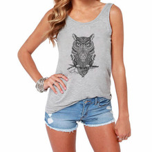 CDJLFH 2017 Summer Women Sleeveless Round Neck Tops Shirt Gray White Fashion Owl 3D Print Women Tank Tops Chaleco(China)