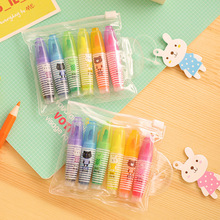 B36 Set of 6 Cute Mini Highlighter Paint Marker Pen Drawing Liquid Chalk Stationery School Office Supply Promotional Gift(China)