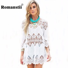 2017 Summer Beach Wear Bikini Women Crochet Tunic White Floral Cotton Mini Lace Dress Embroidery Boho Shirt Hollow Out Cover Ups