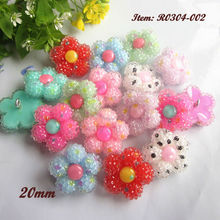 144pcs Mixed color Cute Jelly flowers craft buttons for sewing shank rhinestone embellishments headwear diy decoration