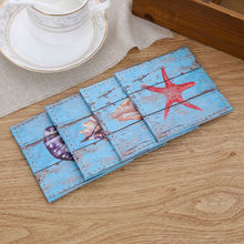 LINKWELL Set of 4 10cmx10cm Sea Navy Blue Ocean Conch Starfish Wood Slat Coast Bar Coaster Table Cup Holder Drink Placemat Mat(China)