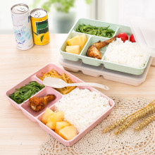 1PCS Wheat Straw Dinner Lunch Box Health 4 Grid Microwave Cute Kids Work People Food Container Organizer Drop Shopping# Aug .29(China)