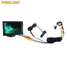 "FEELDO Car Cigarette Lighter Power RCA Video Cable 5"" Stand-alone Monitor Rear View Camera Kits Fast Quick Install #J-2257"